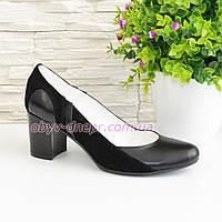 Женские классические туфли на каблуке из натуральной кожи и замши, фото 1