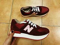 Женские Кожаные кроссовки New balance красные