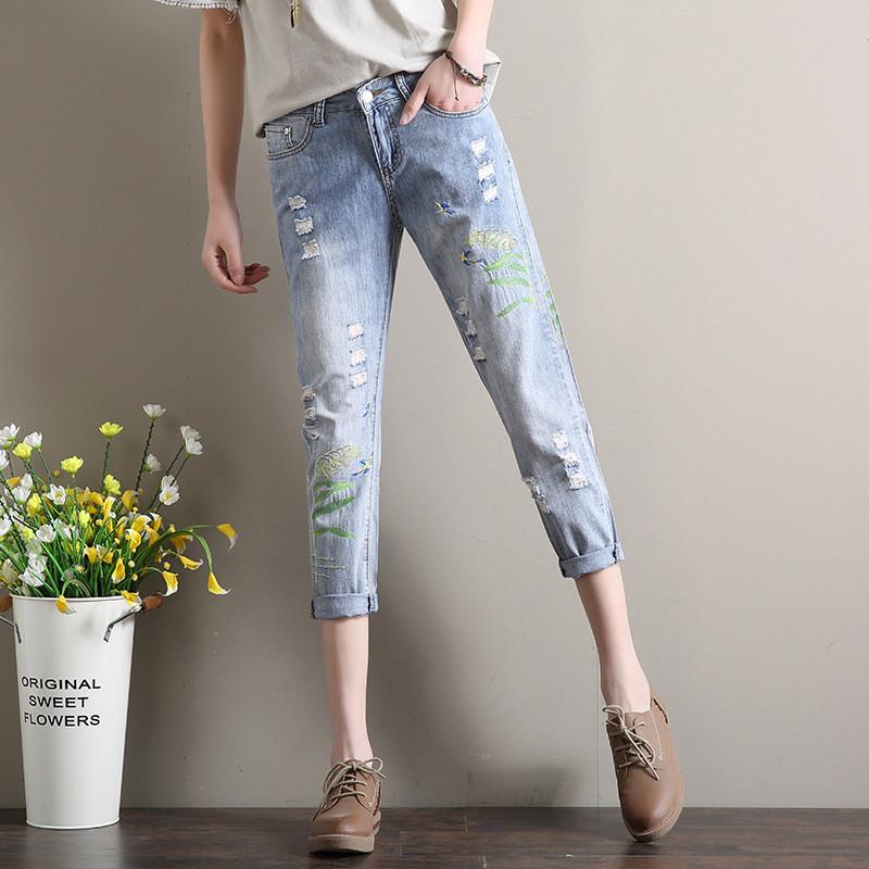 649bf18a4c2 Голубые джинсы женские с вышивкой AL7771 - Альтессо - одежда и сумки оптом  в Украине в