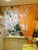 Тюль в кухню со шторкой