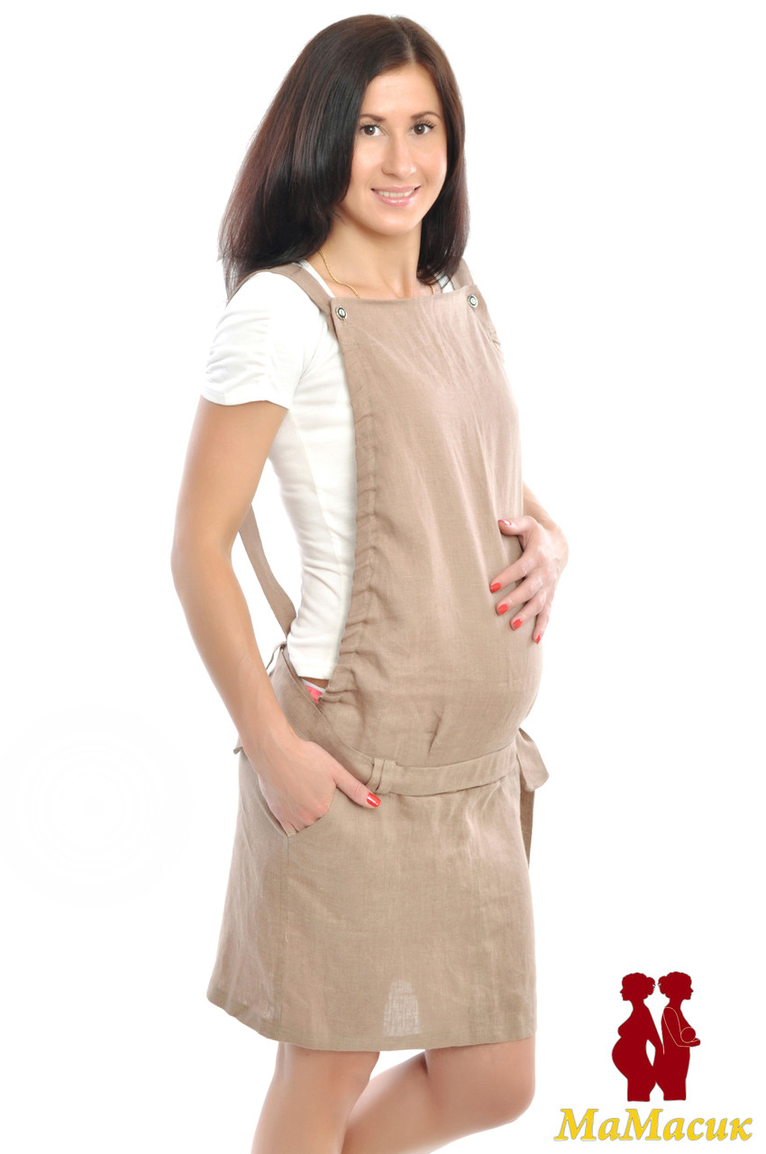 e9289fe920e9 Льняной юбочный комбинезон для будущих мам - HAPPY MAMA - одежда для  беременных и кормящих,