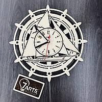 Деревянные настенные часы «Штурвал»