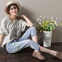 Модные голубые джинсы с вышивкой СС7771