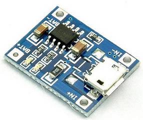 Контроллер заряда TP4056 для Li-ion аккумуляторов 3,7v с microUSB