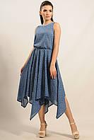 Летнее платье Тиара отрезное по линии талии и юбкой-колоколом ниже колен 42-52 размера