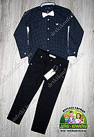 Комплект для мальчика: темно-синяя рубашка Armani и черные брюки