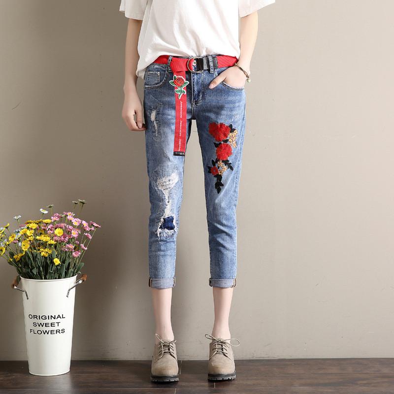 8bb72c9bdee Укороченные джинсы с вышивкой AL7763  продажа