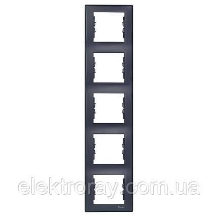 Рамка 5-местная вертикальная Schneider Sedna графит, фото 2