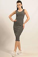 Трикотажное платье сарафан Майами прилегающего силуэта в полоску длины миди 42-52 размеры