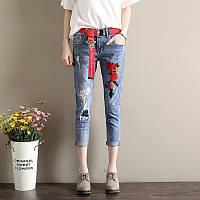 Синие джинсы с вышивкой СС7763