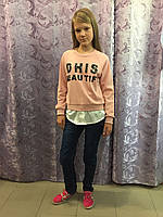 Кофта с имитацией рубашки для девочки 134/140 см, фото 1
