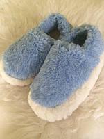 Тапочки из натуральной овчины синие