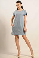 Джинсовое летнее платье Сандра фасона трапеция с карманами 42-52 размеры