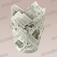 Бумажные формочки для кексов Тюльпан с рисунком Газета (150 шт., d=50 мм, высота бортика=60/80 мм), фото 1