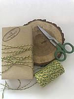 Декоративная нить хлопок, цветная верёвка, шпагат, декоративный шнур для упаковки, цвет зелёный с жёлтым
