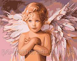 Холст по номерам без коробки Идейка Голубоглазый ангел (KHO2315) 40 х 50 см (Без коробки)