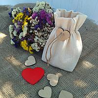 Подарочный мешочек из ткани (джутовая завязка)