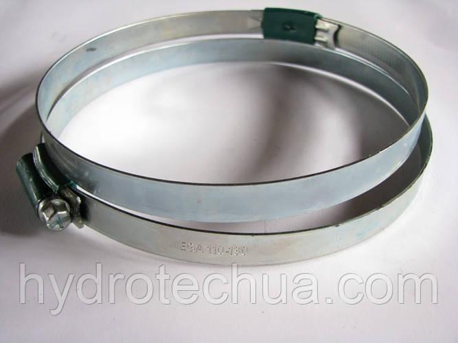Хомут 110-130 W1 Industry червячный усиленный оцинкованный HYDRO TECH