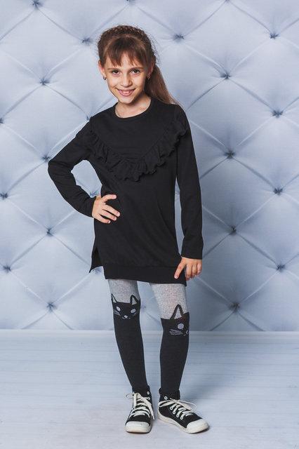 Модное, стильное платье для девочки, туника Рюши