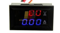 Амперметр-вольтметр цифровой DC0-100V/ 50A красно-синего свечения