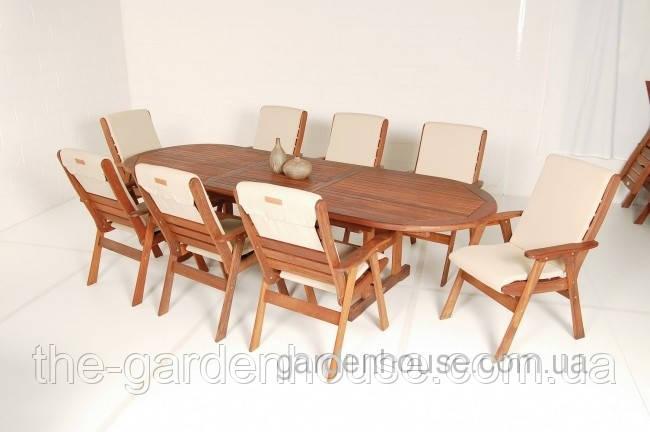 Садовий стіл розкладний Matilda з дерева мербау 220/288х105 см