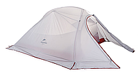 Палатка ультралёгкая 3-х местная с юбкой NatureHike Cloud Up 3 силикон, светло-серый/красный NH15T003-T