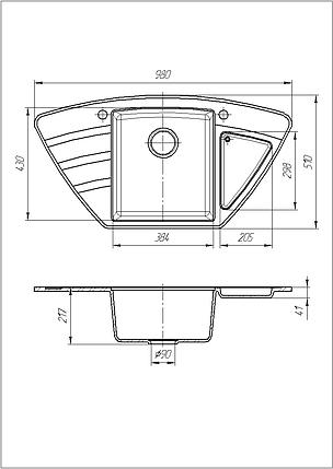 Кухонная угловая мойка из гранита 98*51 см Galati Jorum 98B Teracotă 8472, фото 2