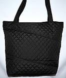 Женская черная стеганная сумка со вставкой со змейкой 22*30, фото 2