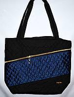 Женская стеганная сумка черная с синим 22*30
