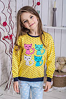 Кофта для девочки Котики желтая