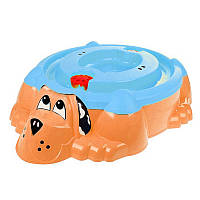"Песочница-бассейн ""Собачка"" оранжевая с голубой крышкой PalPlay 114х95х26см"