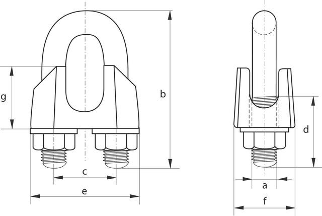 Схема габаритных и присоединительных размеров зажима DIN 741