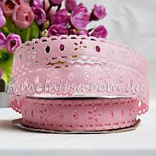 Лента репс с перфорацией цветок, 20 мм, св.розовый