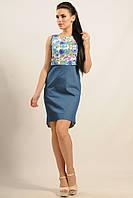 Модное повседневное платье Эльба полуприлегающего силуэта из легкого джинса удлиненное сзади 42-52 размеры