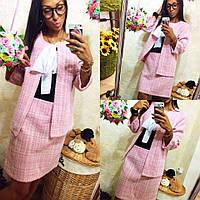 Женский розовый костюм букле юбка с пиджаком 8П34