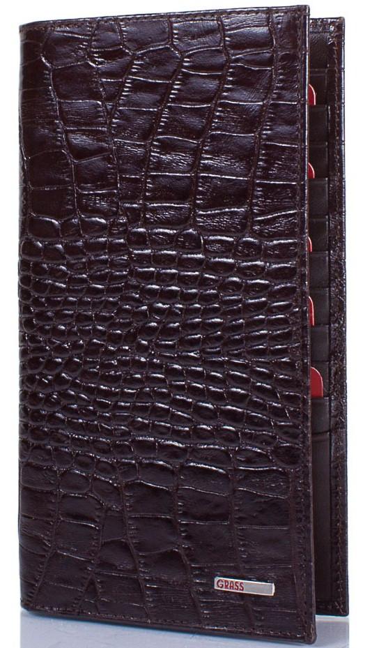 Мужское кожаное портмоне вертикальное GRASS SHI404-30, темно-коричневый