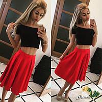 Женский костюм топ и расклешенная юбка