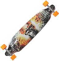 Лонгборд (скейтборд) Long Board 4109 помаранчевий, череп в вогні