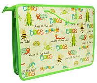 """Папка-портфель школьная А4, пластиковая на молнии, 1 отделение 2 тканевые ручки """"Жуки"""""""