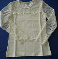 Блуза молочная с кружевным рукавом, фото 1