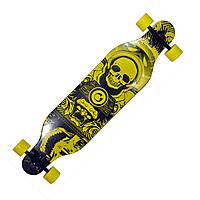 Лонгборд (скейтборд) Long Board 902 жовтий, череп в скафандрі