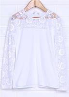 Блуза белая  с кружевным рукавом и воротничком