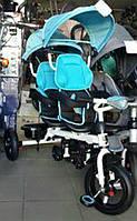 Трехколесный велосипед-коляска  двухместный для двойни Azimut Crosser TWINS М-300 AIR голубой***
