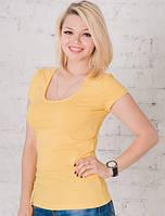 Желтая футболка женская однотонная вискозная спортивная под джинсы без рисунка (Украина)