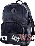 Рюкзак Winner stile 166 школьный, спортивный на одно отделение джинсовый 28 см* 19 см * 37 см