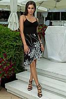 """Нарядное летнее платье на бретельках """"Тереза"""" с бисером и асимметричной юбкой"""