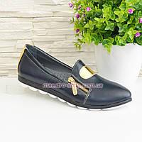 Туфли кожаные женские на утолщенной подошве, фото 1
