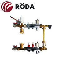 Коллектор латунный RODA для теплого пола на 4вых с расходамерами