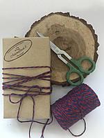 Цветная нить хлопок, верёвка, шпагат, декоративный шнур для упаковки, цвет  красный с синим, фото 1