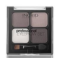 Ingrid Профессиональные моделирующие тени для бровей 4 в 1 Коричневые